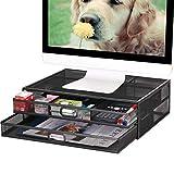Monitorständer mit Schublade – Metallgeflecht...